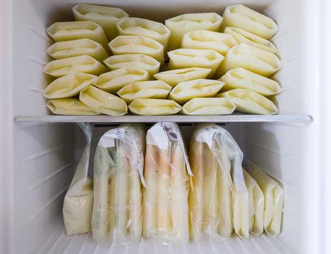 Stock of breast milk in the storage bag.