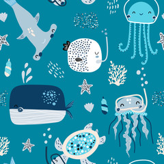 Seamless childish pattern with fishes, whale, octopus. Creative scandinavian style under see kids texture for fabric, wrapping, textile, wallpaper, apparel. Vector illustration