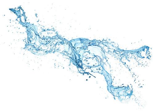 pure blue water splash isolated on white background