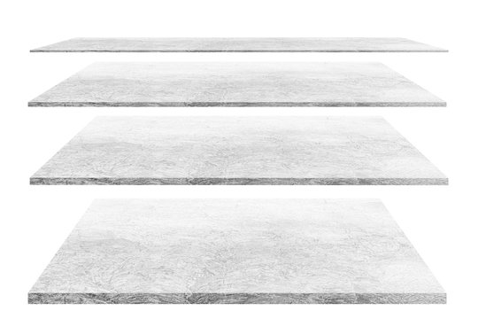 4 empty cement shelves Different levels, isolated on white backgrounds, With clipping paths.