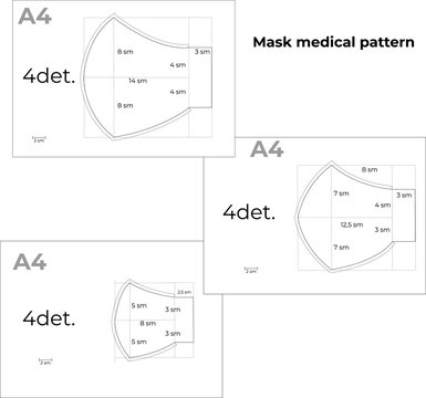 Reusable medical mask template against influenza viruses. Instructions for printing A4 format. DIY sewing pattern. The size is large, medium and children. Vector illustration.