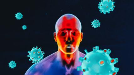Obraz Body temperature scan for Coronavirus - fototapety do salonu