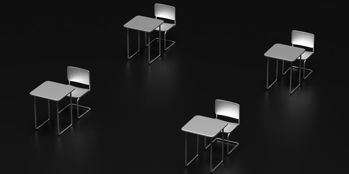 Social distance concept. Empty chairs and desks in a dinstance on black background. 3d illustration