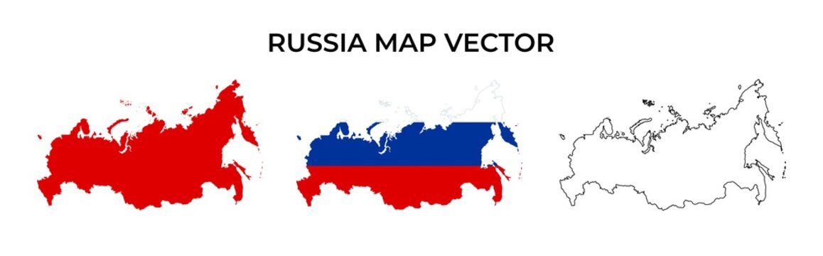 Russia map vector set - Blank Map of Russia Include Russia Flag With Map Shape, Silhouette and Outline Vector Illustration Isolated on White