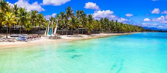 Wall Mural -  panoramic view of beautiful tropical beach Trou aux Biches in Mauritius island