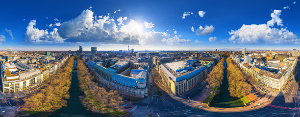 City of Düsseldorf Königsallee 360° VR Pano Downtown Germany Fototapete