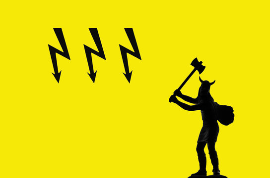 Attacking Viking (black silhouette) with double headed axe and three black lightnings on the yellow background, epic, Old Norse, Odin, Thor, Asgard, Ragnarok themes