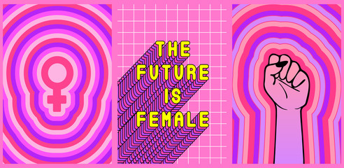 "Set of 3 feminist posters ""The Future is female"", raised fist and Venus symbol. Vector illustrations. Girl power card concepts."