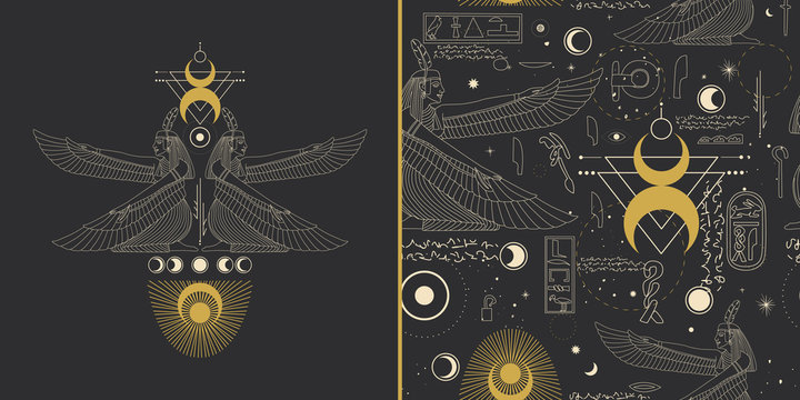image of egyptian god in retro engraving style. tattoo sketch, print on a leaflet, design creation. cosmic elements of the sun and moon. Vector graphics
