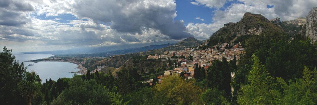 Panoramic view of Taormina and the bay of Giardini-Naxos, Sicily