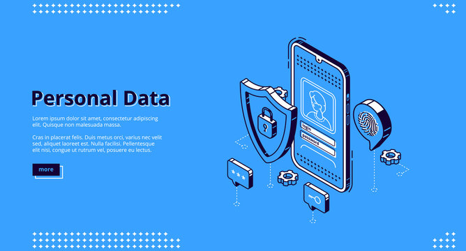Personal data isometric landing page. Online access login and password enter page on smartphone screen, user account verification and privacy, website register form. 3d vector line art web banner.