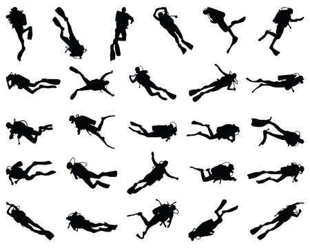 Black  silhouette of scuba diving and free divers on a white background