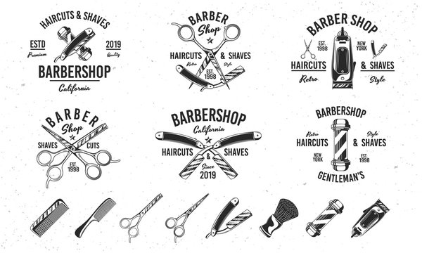Barber shop vintage hipster logo templates. 6 Logos and 8 design elements for barber shop, haircut's salon. Barbershop, Barber, Haircut's salon emblems templates. Vector illustration