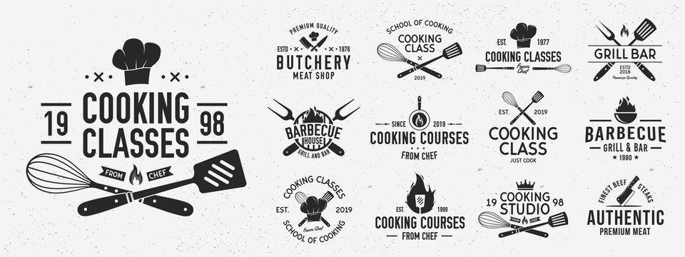 Set of Cooking Class logo and poster templates. Barbecue and Cooking Courses logo set for for food studio, cooking courses, culinary school. Restaurant graphics. Vector illustration