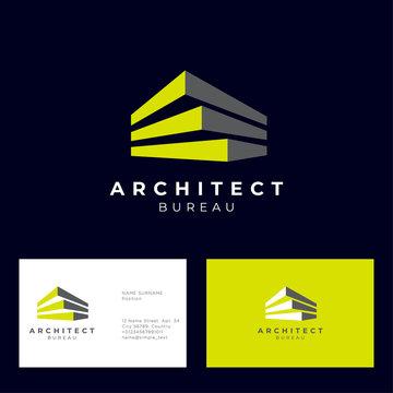 Architect bureau logo. Brick modules and letters. Build and construction emblem. Vector emblem. Business card.