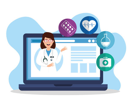 medicine online technology with laptop and icons vector illustration design