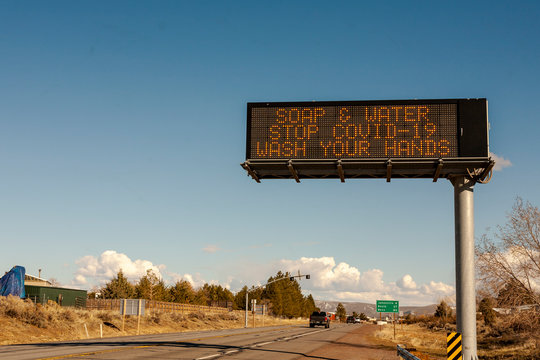 SUSANVILLE, CA - March 22, 2020 - A California Department of Transportation (CALTRANS) message sign provides information about hygiene precautions to take to prevent spread of the COVID-19 Virus.