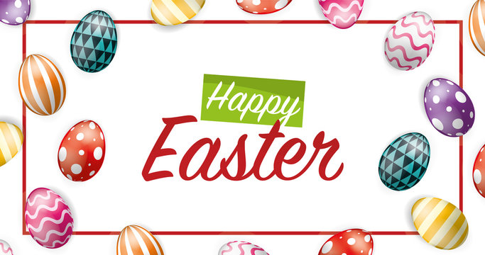 Vector Illustration of Happy Easter Holiday with Painted Eggs and Grass on Colorful Background. International Spring Celebration Design with Typography for Greeting Card, Party Invitation