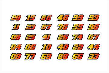 Set of racing number, start racing number, sport race number with halftone dots style vector illustration eps 10