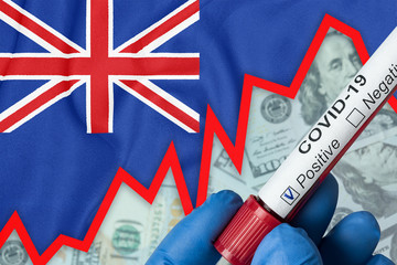 Coronavirus in New Zealand. Positive blood test on flag background. Increase in incidence. Economic crisis