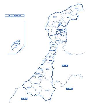 石川県地図 シンプル白地図 市区町村
