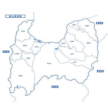 富山県地図 シンプル白地図 市区町村