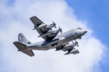 Mar 25, 2020 Mountain View / CA / USA - Close up of US Air Force military aircraft performing a training flight