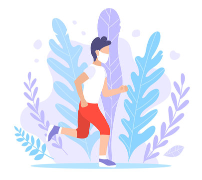 A sporty man walks in a mask. Vector flat style illustration of quarantine and isolation. A guy in sportswear and a jogging mask. Pandemic, Coronovirus Epidemic, Covid-19. Exercise in the fresh air