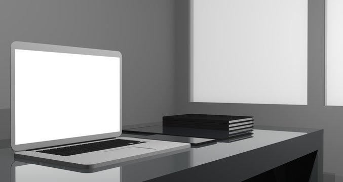 Workspace at home with a minimalist modern setup. Work from home to protect the covid-19 virus. Background 3d rendering