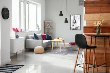 Fototapeta Interior of beautiful modern studio apartment obraz