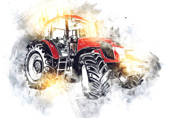 Agricultural tractor illustration color art painting Fotomurales