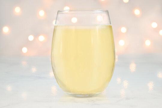 Stemless Wine Glass Mockup with Glowing Bokeh Lights
