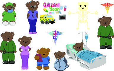 A selection of digitally hand drawn images of healthcare workers taking care of all those sick patients - Get well soon