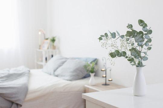 eucalyptus and gypsophila  in vase in white bedroom