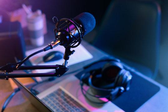Online live radio studio desk