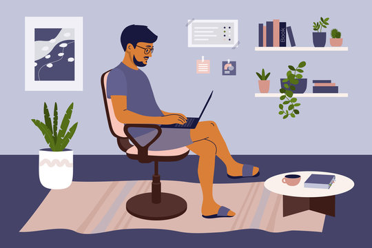 Stay and work from home concept. Man sitting on chair in living room, working online on laptop. Coronavirus quarantine isolation. Cozy interior. Lifestyle illustration of freelancer in comfy workplace