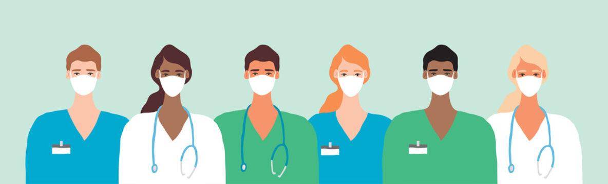 Doctor in Mask Coronavirus Frontline Illustration