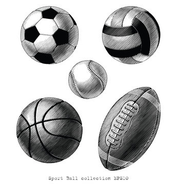 Sport Ball collection hand draw vinatge style black and white clip art isolated on white background