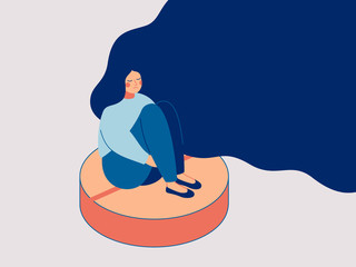 Depress woman sits on the big pill. Concept of influence side effects of pills on the women's moods. Vector