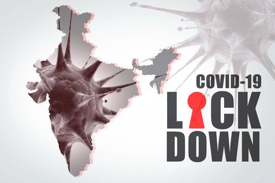 2d render Corona virus effected compete lock down in india