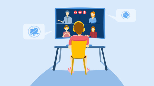 Teleconference for work from home concept : self quarantine to prevent from COVID -19, A man in video conference with colleagues, man and woman. Vector illustration, Flat design