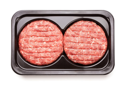 raw minced beef meat for burgers in plastic package