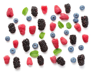 Wall Mural - various berries isolated on white background