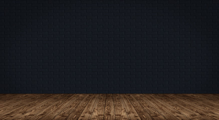 black brick wall and wooden floor interior mockup background