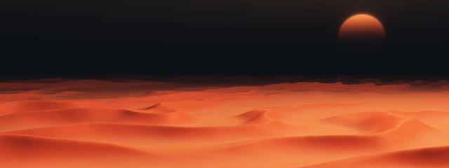 Sandwüste mit Dünen in der Dunkelheit Fotomurales