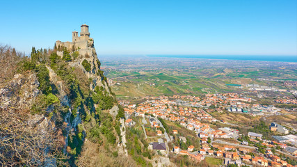 Panoramic view of San Marino and Borgo Maggiore Wall mural