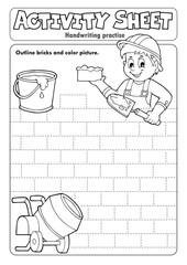Photo sur Aluminium Enfants Activity sheet handwriting practise 5