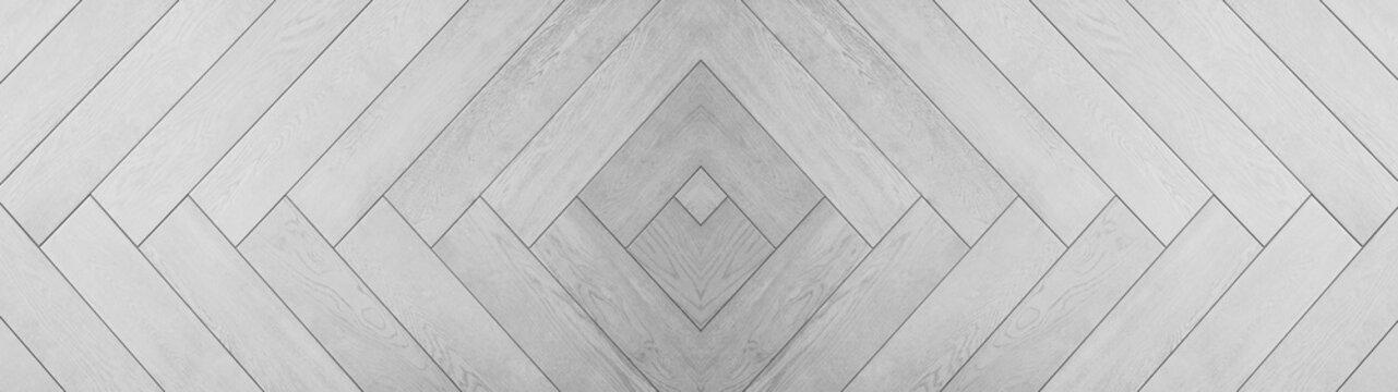 White gray wooden pattern square rhombus diamond  herringbone texture background banner panorama long
