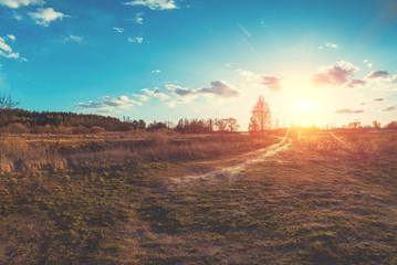 Zelfklevend Fotobehang Diepbruine Rural dirt road in the field with bright sunset sky