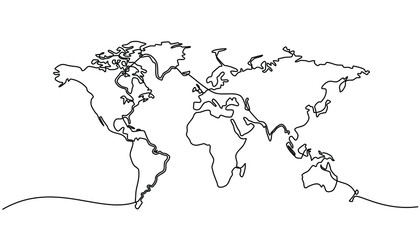 continuous line drawing of world map
